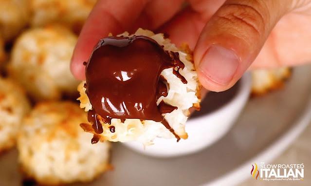 macaroon cookies dipped in chocolate