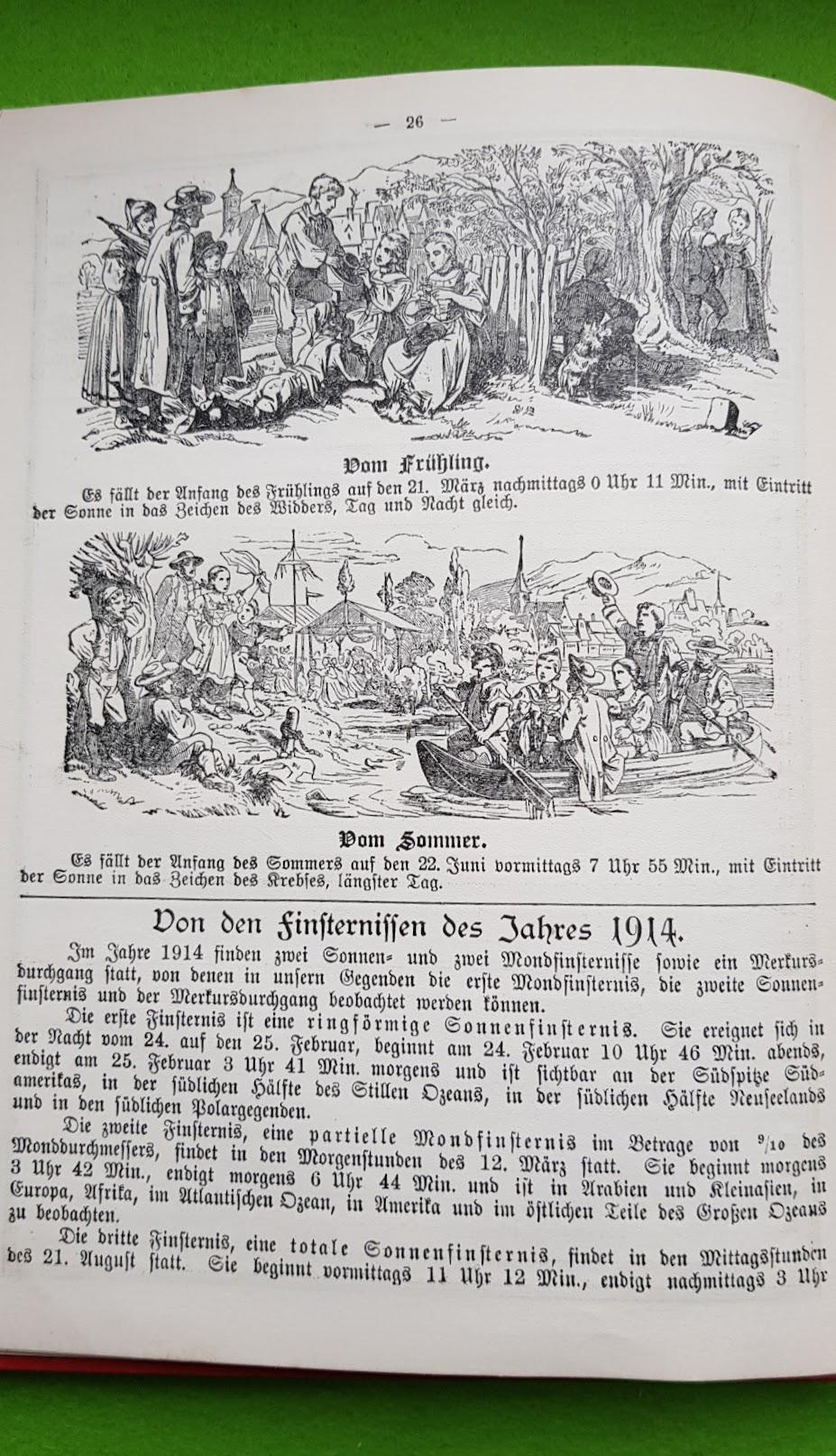 Großer Volkskalender des Lahrer hinkenden Boten - 1914 - Jahresübersicht