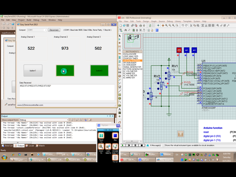 C# application communicate with Arduino (simulation)