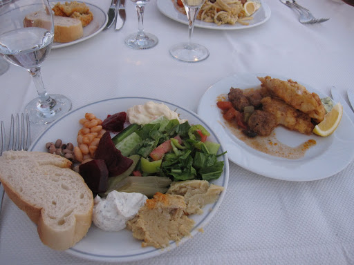 Buffet dinner, terrace restaurant, Hotel Kismet, Kusadasi, Turkey