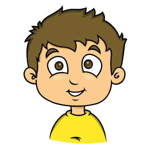 A drawing of a boy who is smiling. He has brown hair and a yellow shirt