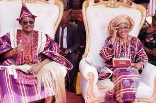 Chief Willie Obiano, Governor of Anambra State and his wife, Dr Mrs Ebelechukwu Obiano waiting to be honoured as the Aare Amuogun and Erelu Amuogun of Ado Ekiti by the Ewi of Ado-Ekiti, Oba Rufus Adeyemo Adejugbe at the Ewi's palace, Ado-Ekiti.