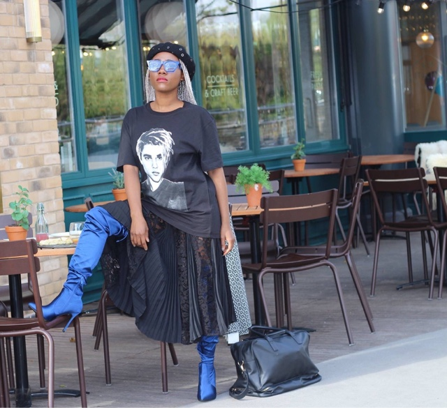 watch 82e5e d5c83 Style a lace pleated Na-Kd skirt and Justin bieber tee