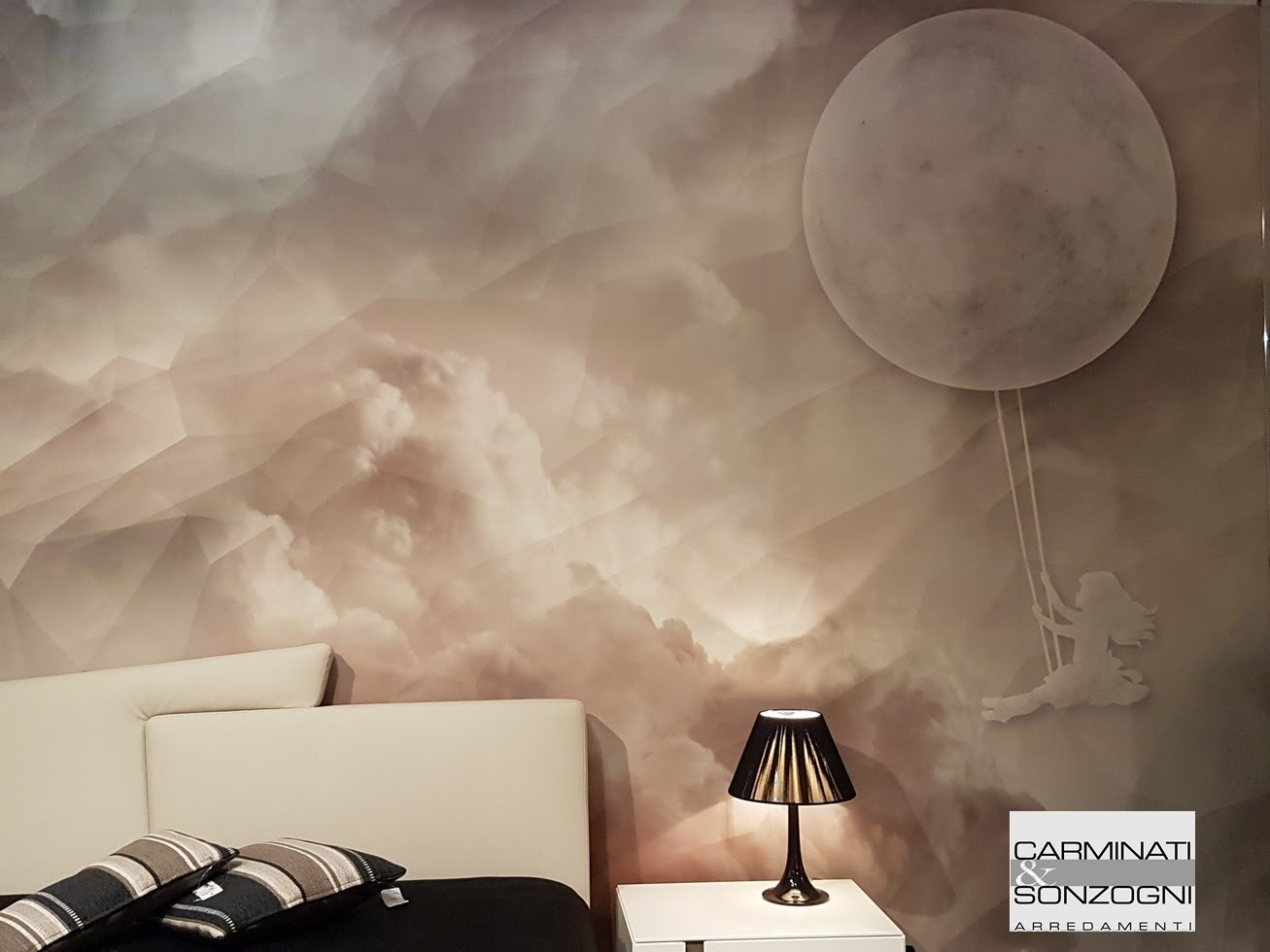 tapezzeria Inkiostro Bianco nella camera da letto con letto Meeting Presotto, armadio e gfruppo letto La CAsa Moderna, visibile nel nostro negozio di Zogno Bergamo 3.jpg