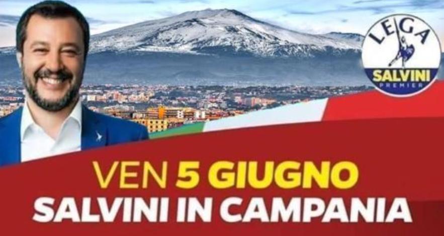 Matteo Salvini e l'Etna in Campania…