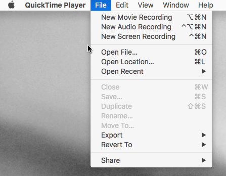 QuickTime Player settings for recording