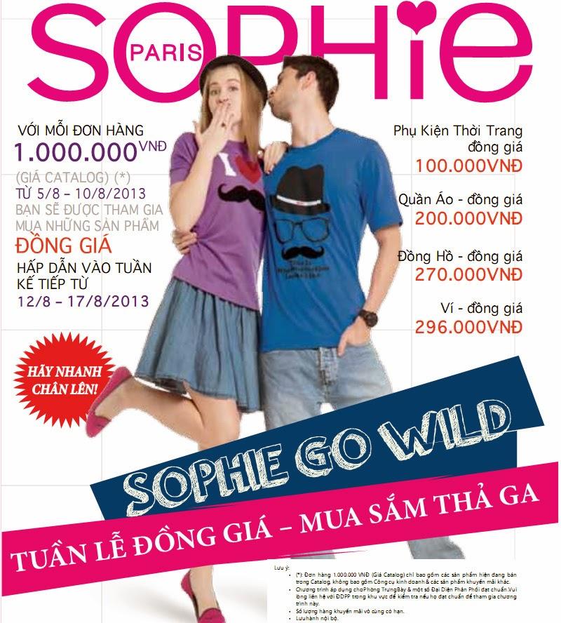 Sophie khuyến mại đồng giá tháng 8/2013