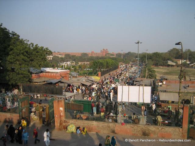 Vue sur le Red Fort (Lal Qila) depuis Jama Masjid