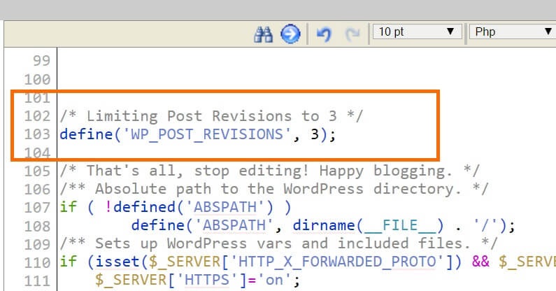 WordPress WPConfig Limit Post Revisions