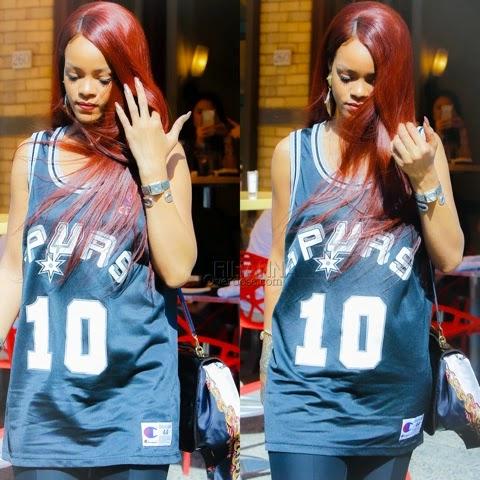 Rihanna in SPURS Jersey