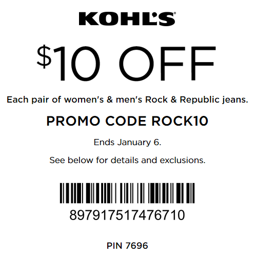 There is a crazy $10 off any Rock & Republic Women's, Men's, and Women's Plus Denim at Kohl's right now. You can use it online with promo code ROCK10 or print it HERE. (This coupon .