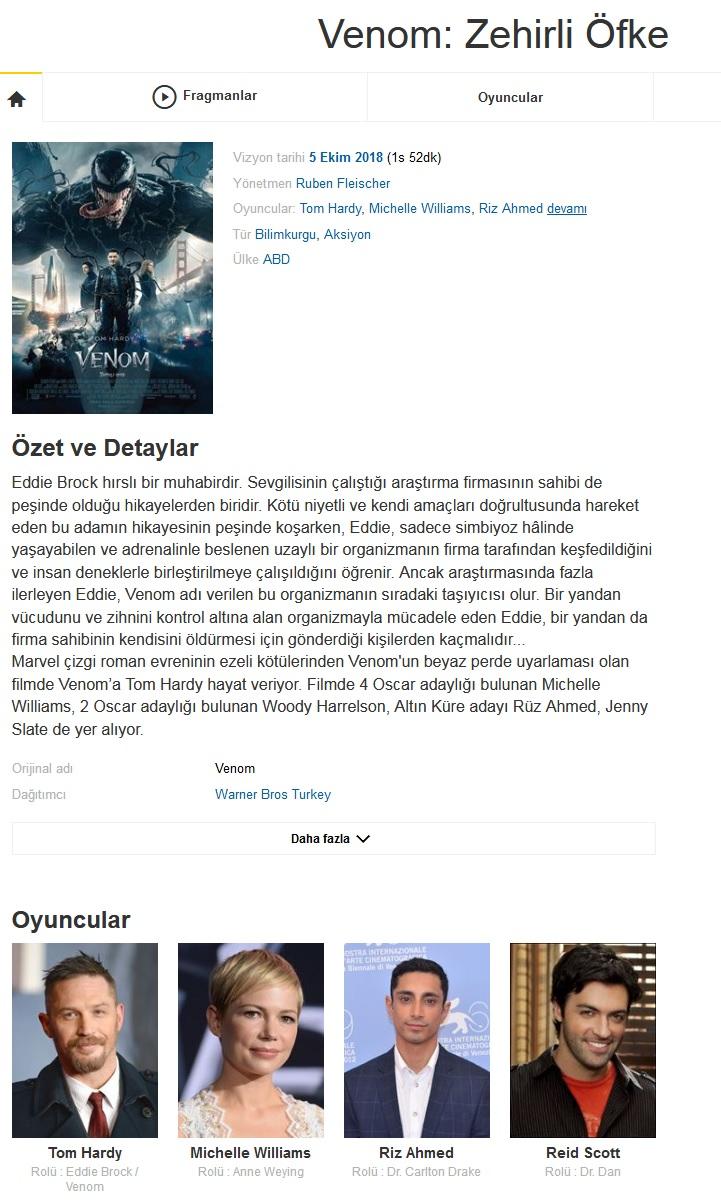 Venom Zehirli Öfke 2018 - 1080p 720p 480p - Türkçe Dublaj Tek Link indir
