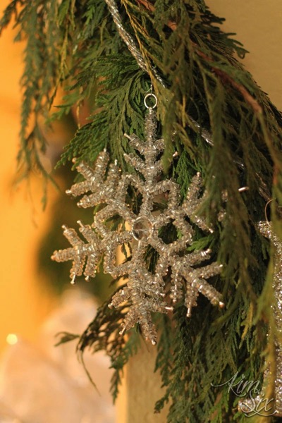 Glittered Snowflake on Garland