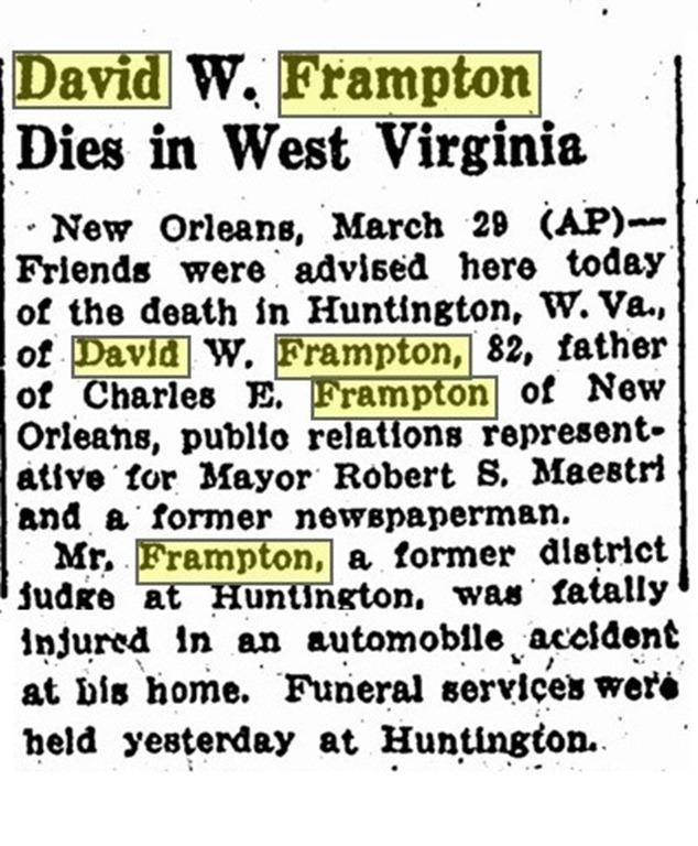 FRAMPTON_David W_obit_Advocate_BatonRouge_30 Mar 1945-pg 8