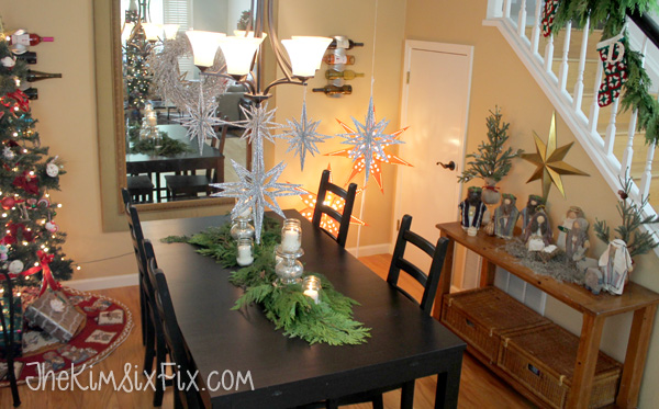 Shiny sparkling stars over dining table