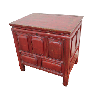 Red Lacquered Footed Chest