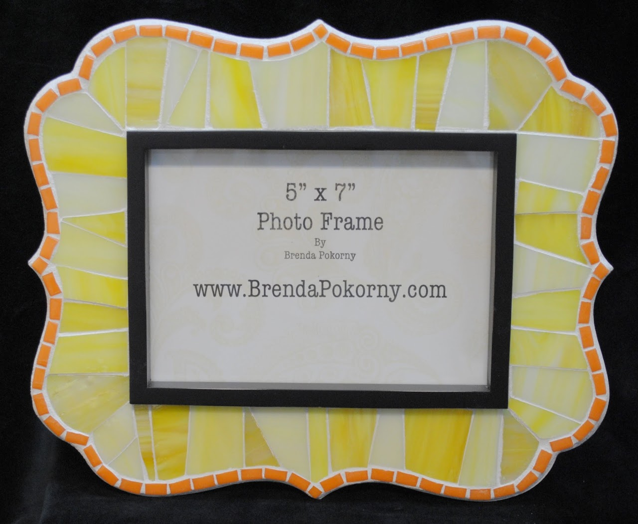 "Sunshine Yellow & Marigold 5"" x 7"" Mosaic Photo Frame MOF1438"