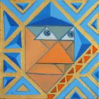 096 - Le Roi des Triangles - 2003 30 x 30 - Huile et or sur toile