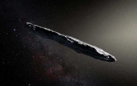 ilustração do asteroide interestelar 'Oumuamua