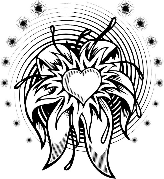 Coloring Page Of Flower Heart