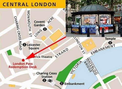 Mapa para llegar al punto de recogida de la London Pass