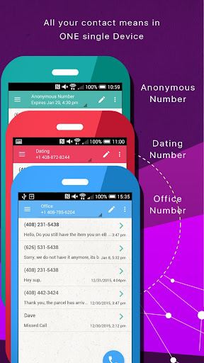 Phoner 2nd Phone Number + Anonymous Text & Call  screenshots 3