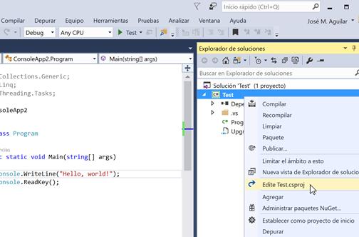 """Opción """"Editar .csproj"""" en el menú contextual del proyecto de Visual Studio"""
