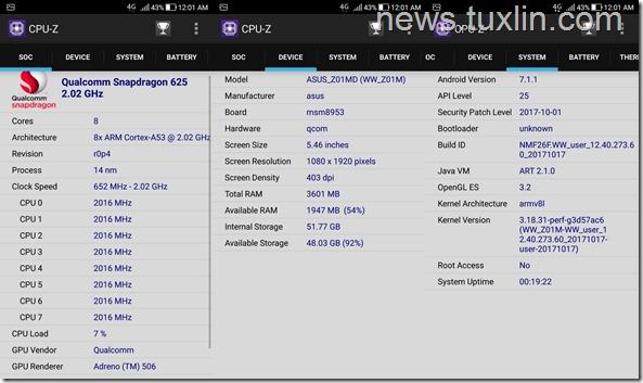 Benchmark Asus Zenfone 4 Selfie Pro ZD552KL CPU-Z