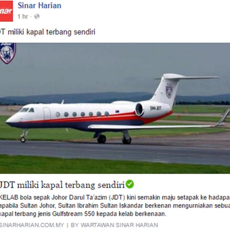 Bila JDT ada kapal terbang sendiri..