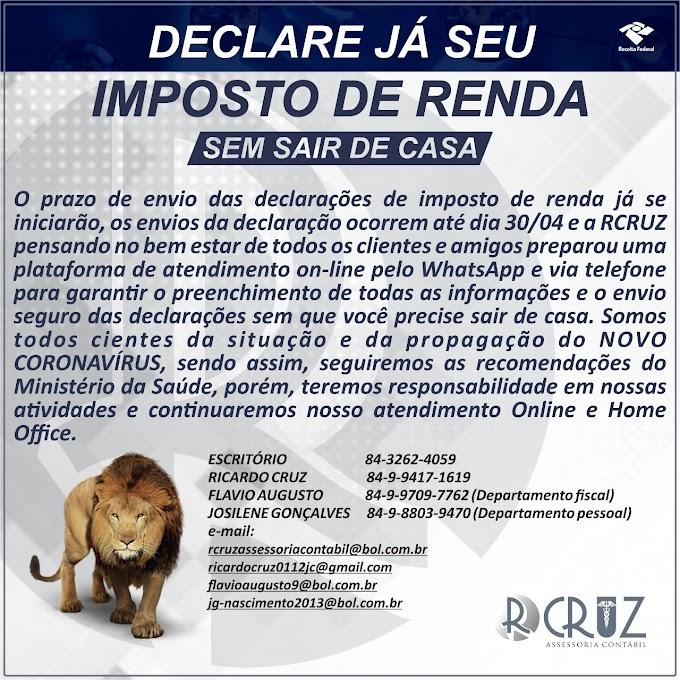 Declare seu Imposto de renda sem sair de casa, R CRUZ ASSESSORIA CONTABIL.