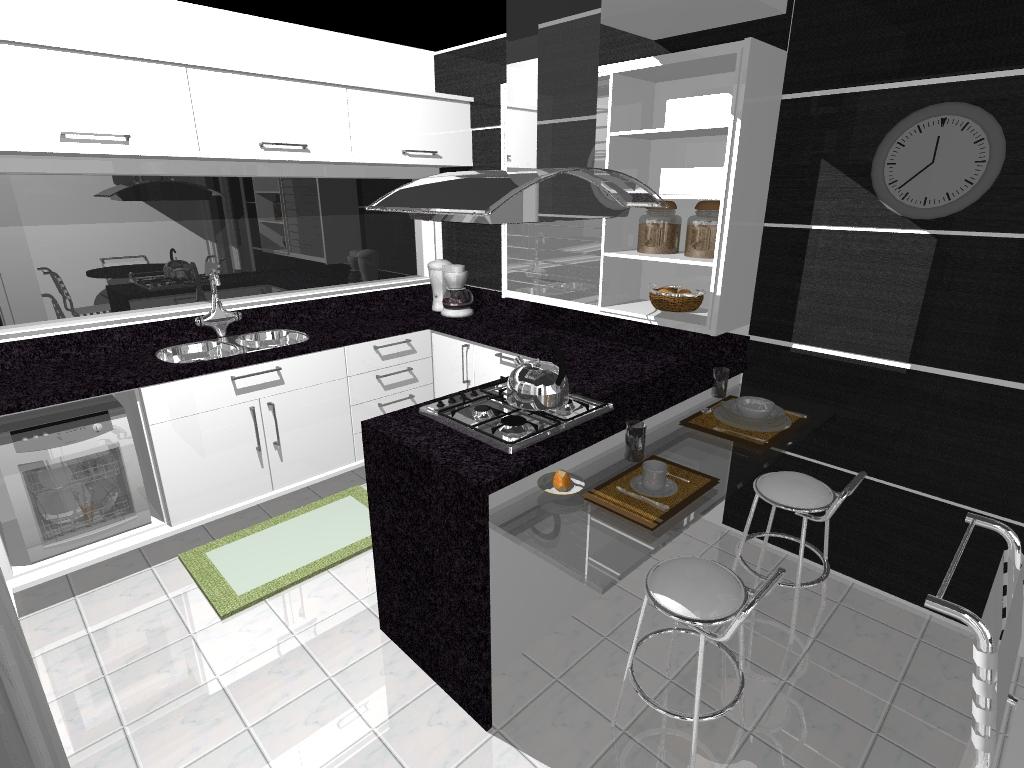 Forma Arquitetura Projeto Cozinha Black And White