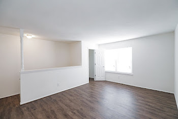 Renovated two bedroom upstairs floorplan with wood-style flooring