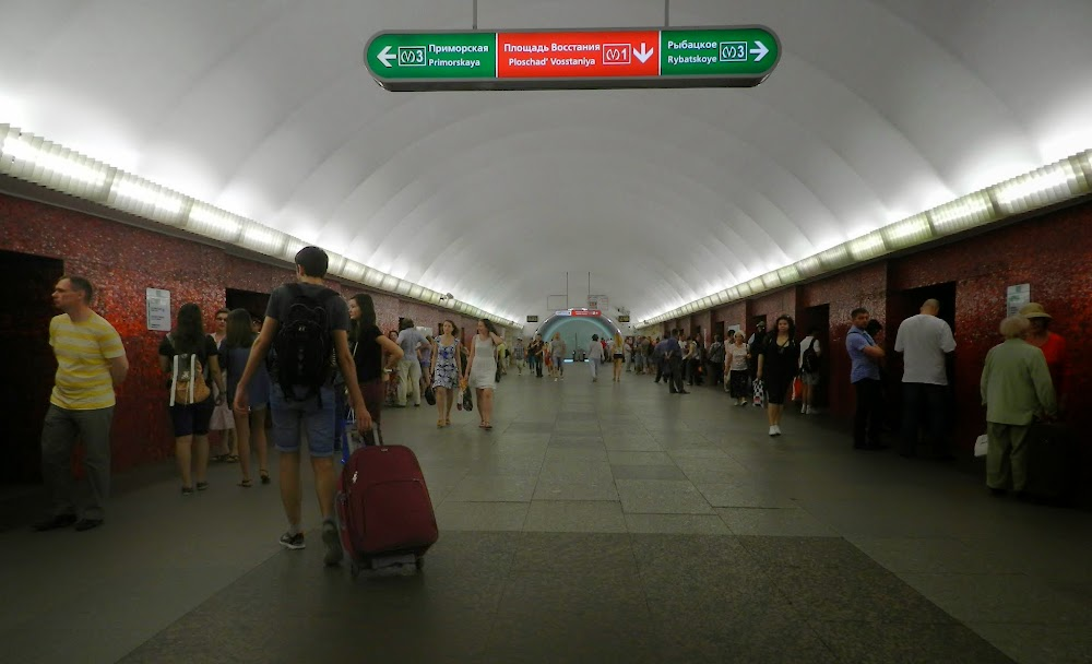 Mayakovskaya station.... one of the differences is that many Metro stations here have metal doors keeping bystanders from the tracks, which only open when trains arrive.