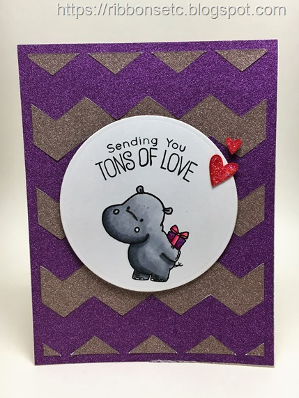 Sending tons of love card with glitter background and MFT Happy hippo stamp set