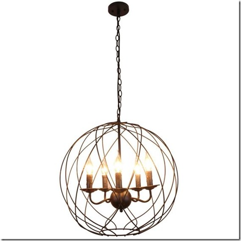 Unitary Brand Vintage Black Metal Globe Shape ORB Dining Room Candle Chandelier