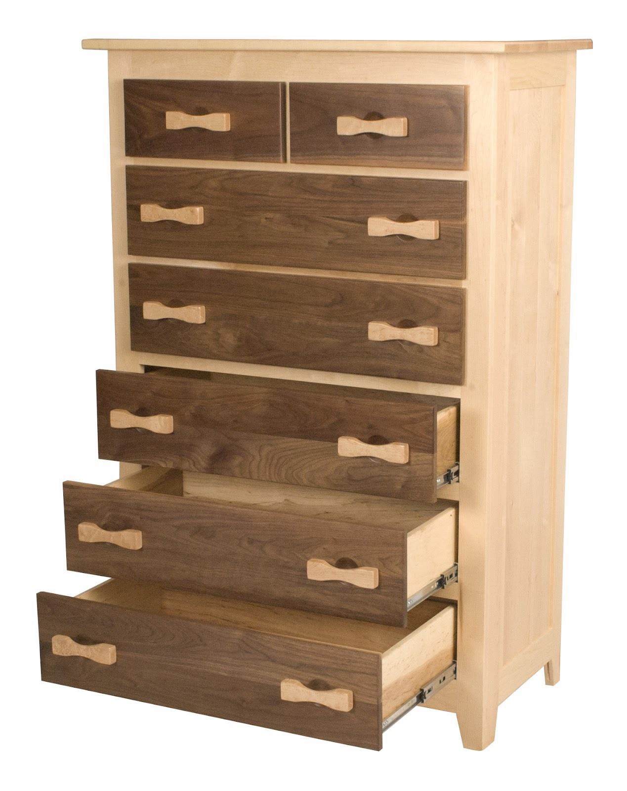 60 X 40 Shaker Vertical Dresser In Natural Hard Maple Frame And Walnut  Drawers, With Custom Zen Hardware In Birds Eye Maple. «»