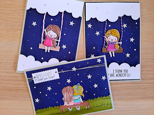Easy starry night background for cardmaking