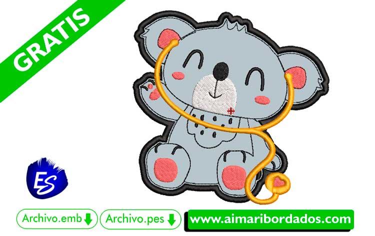 Koala médico pediatría para bordar a máquina DESCARGA GRATIS