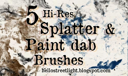 Free Splatter & Paint dab Photoshop Brushes