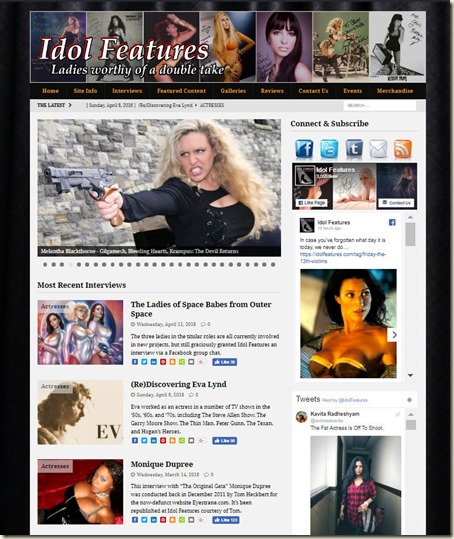 IdolFeatures.com website home w Eva Lynd