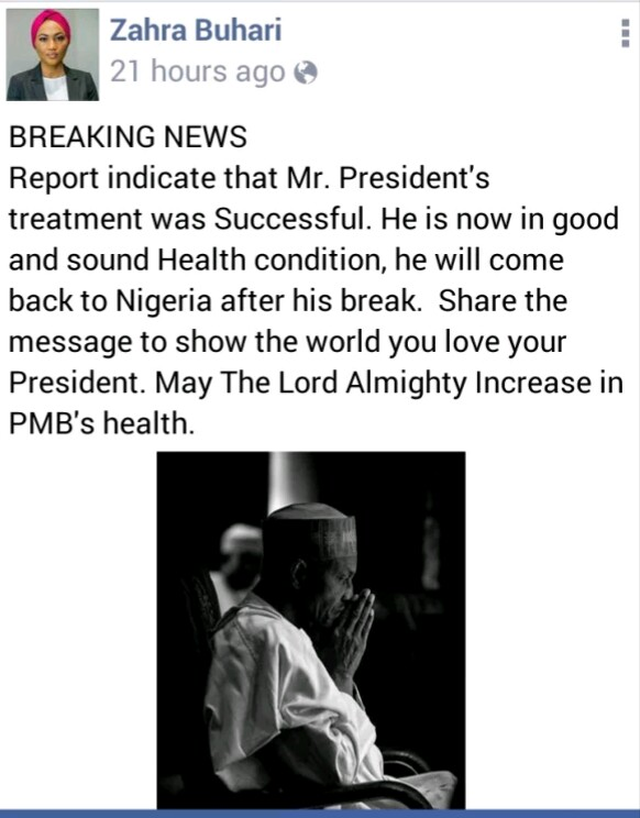 Zahra Buhari' Post Concerning Her Father's Health Condition(