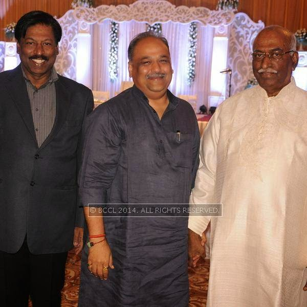 Arbind Jayaswal, Ajay Sancheti and Basantlal Shaw during Richa-Gaurav Rughwani's wedding reception, held in Nagpur.