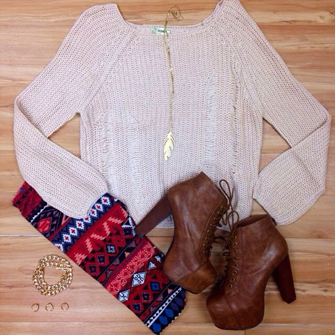 Hand woven sweater, scarf and brown high heel boots for fall