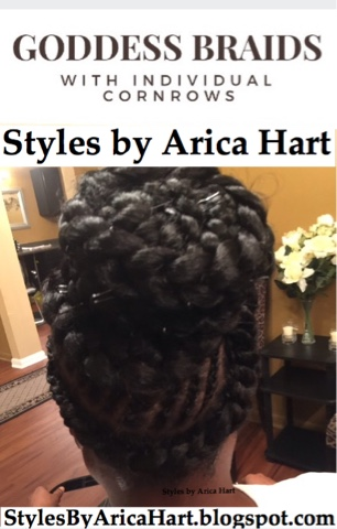 Braids, goddess braids, cornrows, updo, hair styles, protective styles