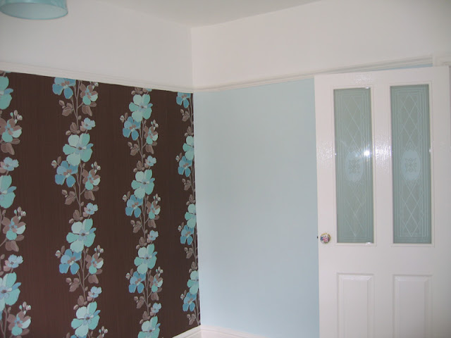 Bedroom with feature wall undertaken in Maghull, Merseyside
