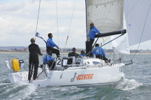 J/111 JXcentric sailing at Cowes downwind