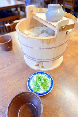 Yudofu - we stopped at a restaurant just below the famous stage at Kiyomizudera by Otawa Waterfall's 3 streams. Yudofu is a hot soybean curd- it was a bargain for 2 people at 800 yen I thought. You carefully remove a piece from the hot water with light flavoring, and then in your own individual bowl add condiments like green onion or sauce