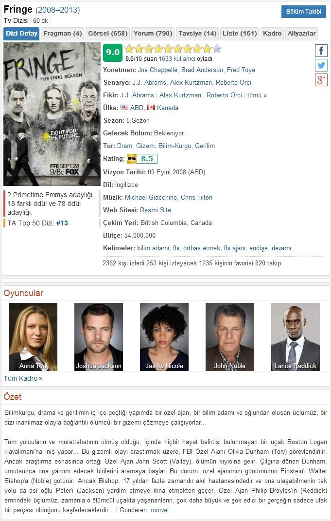 Fringe 5. ve Son Sezon Tüm Bölümler BRRip x264 Türkçe Dublaj Tek Link indir