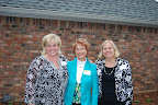 Suzanne Hughes, Diane Connor and club president Carol Wollin