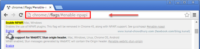 Open Chrome's Flags settings to enable NPAPI (www.kunal-chowdhury.com)